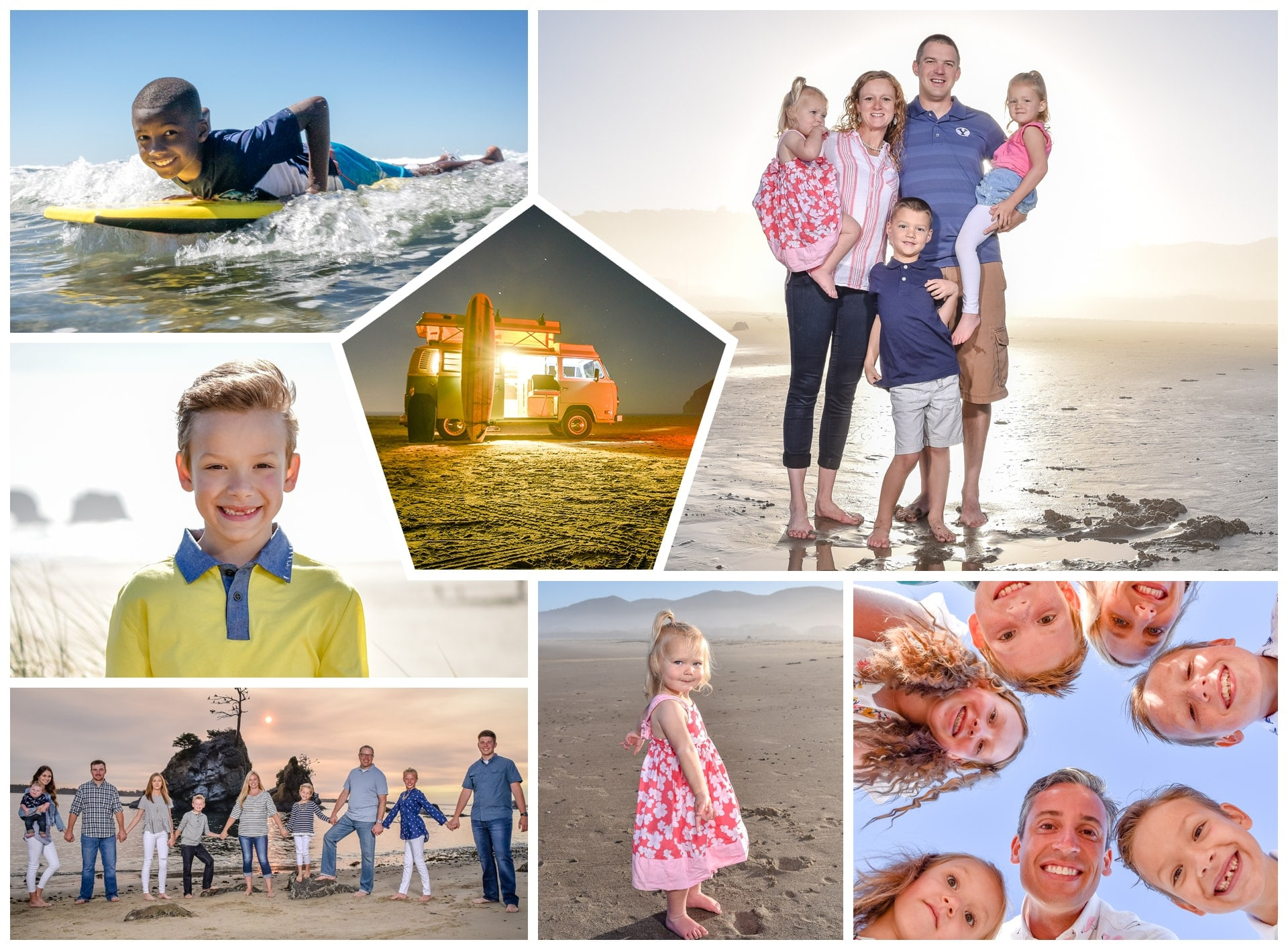 Collage of photos of Richland dentists and their families having fun on the beach